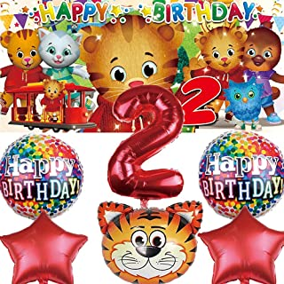 Daniel Tiger 2nd Birthday Party Supplies Second Birthday 2 Years Old Decorations Banner Backdrop Balloons Set Decor Red