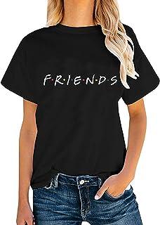 Felpa Amicizia Donna Simpatica T Shirt Friends Serie TV Uomo Maglia Uguale Famiglia per Amiche Coppia Gemello Fidanzati Felpe Manica Corta Maglia Tinta Unita Blusa Estate CamiciaTunica Top Streetwear