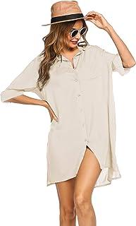 Ekouaer Vestido de playa para mujer, cuello en V, poncho de playa, bikini y vestido de verano, tallas S-XXL