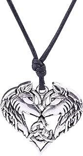 Fashion Viking Irish Knot Animal Wolf Heart Shape Pendant Necklace Jewelry (Antique Silver)