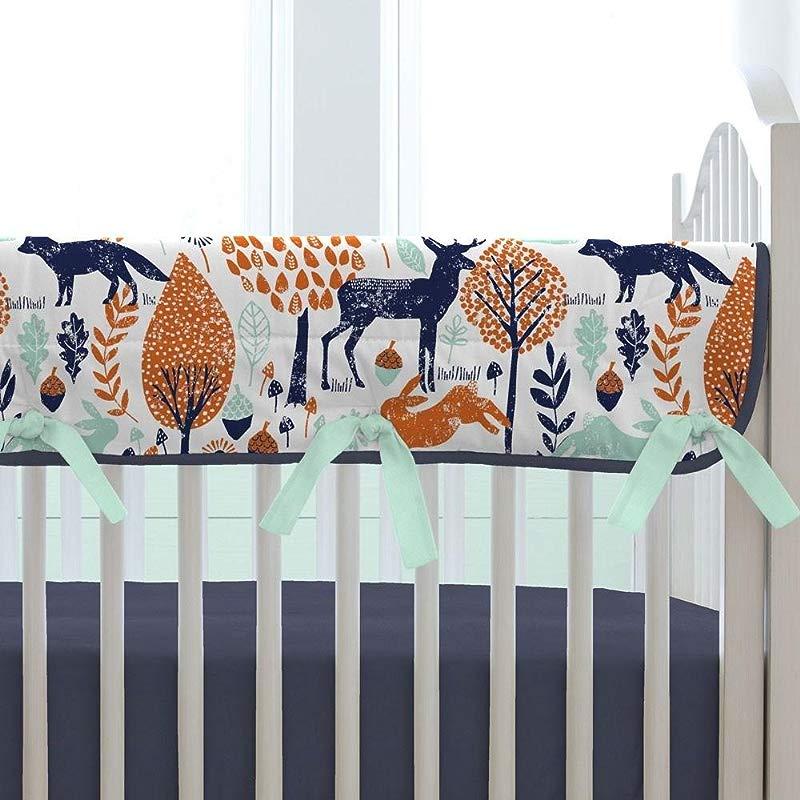 Carousel Designs Navy And Orange Woodland Crib Rail Cover