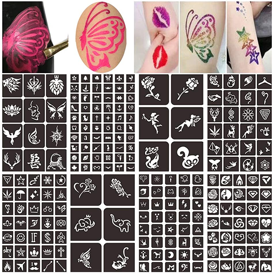 Body Face Painting Stencils Kit for Kids, Henna Glitter Tattoo Stencils Kit, Reusable Temporary Tattoo Stencils (8 Sheets 218 Design)