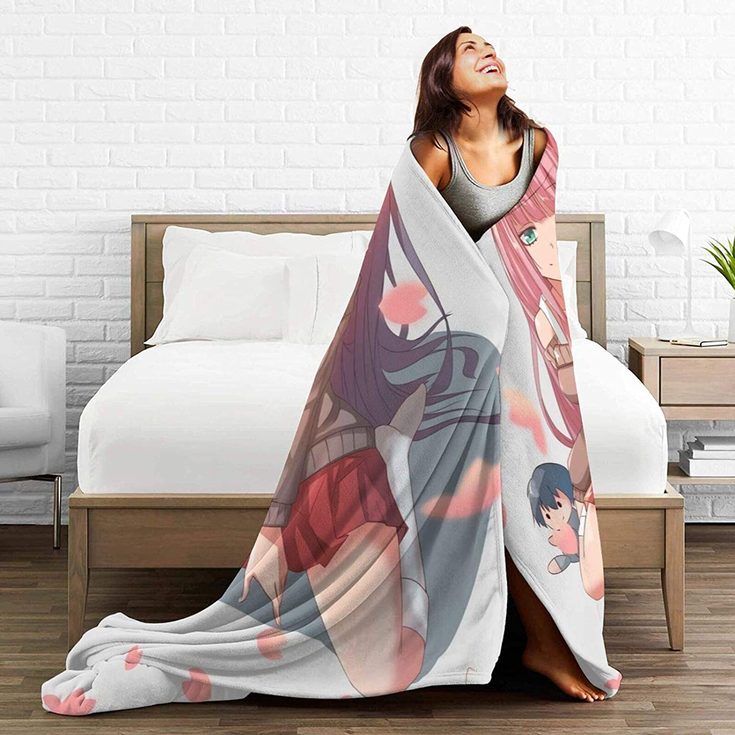 Darkt Darling in The FRANXX Luxury Throw Blanket Flannel Air Conditioning Blankets for Bed Sofa Home Decor Office Travel Gifts 60x50 Inch for Teens