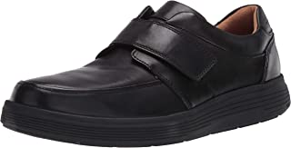 CLARKS Men's Shoe with Riptape Closure Sneaker, Black Leather