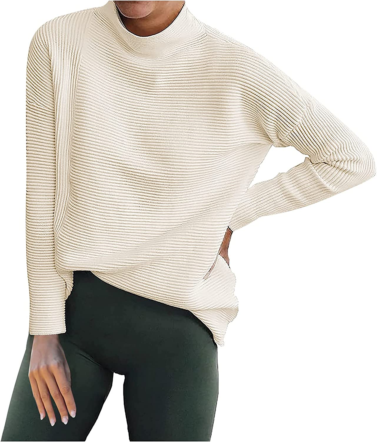 BCDlily Women Sweaters High Neck Shirts At the price of surprise Solid Casual Knit NEW Loose