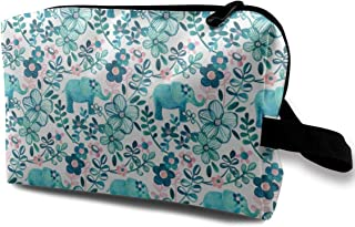 Little Teal Elephant Watercolor Floral On White Travel Makeup Cute Cosmetic Case Organizer Portable Storage Bag for Women