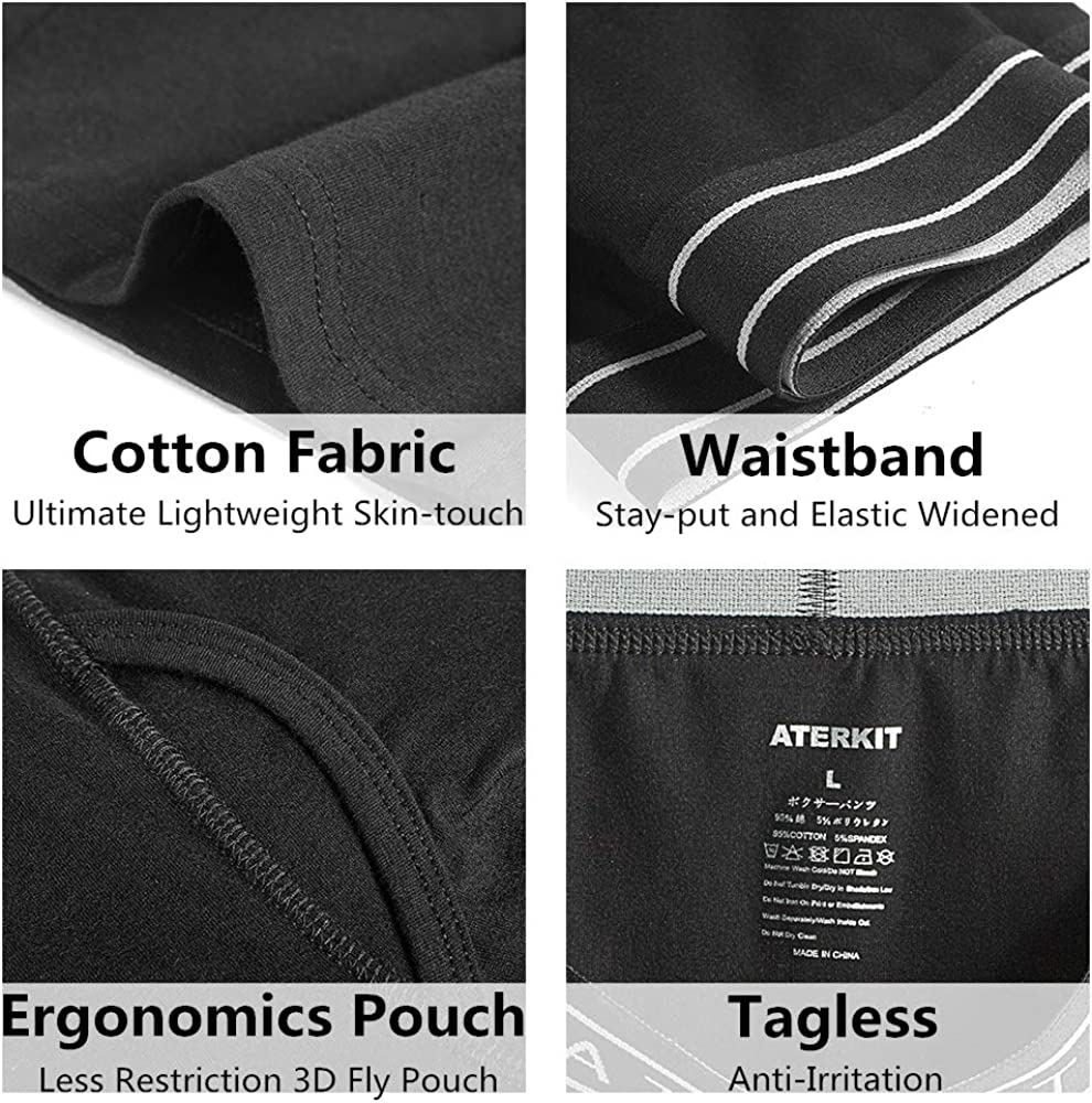 ATERKIT 6-Pack Boxer Briefs for Men Comfortable Tag-Free Soft Underwear with Open Fly