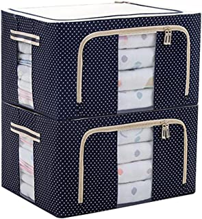 JJMG Stackable Storage Box Polka Dots Oxford Cloth Steel Frame Shelf Quilt Clothing Blanket Pillow Shoe Holder Container Organizer See-through Window double zipper Folding - Dark Blue (2 pack x 66L)