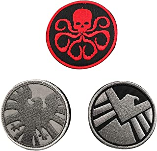 Marvel Comics Tactical Military Morale Embroidered Patch Shield/Avengers/Hydra Cloth Applique Hook and Loop Badge Morale Patch 3 Pieces