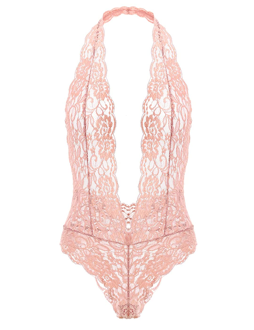 Garmol Women's Deep V Plunging Teddy Lingerie Halter Lace Babydoll Bodysuit