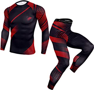 Men's Sports Running Set,Men's Workout Set Compression Shirt and Pants Long Sleeve Sports Tight Quick Dry Moisture-Wicking...