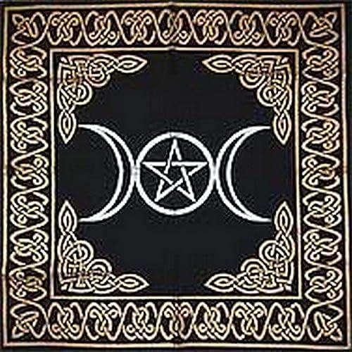 """new arrival Altar popular Tarot Cloth: Triple Goddess outlet online sale With Pentagram - 24"""" x 24"""" (Gold/Silver on Black Pentacle/Pentagram) sale"""
