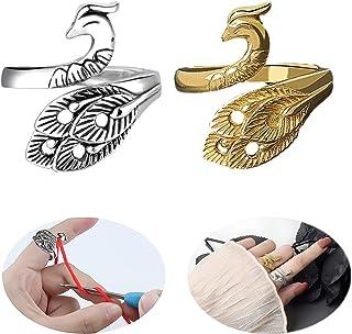 SSyang 2 Pièces Boucle De Tricot Réglable Boucle De Crochet De Tricot,Anneau De Paon Phoenix,Guide De Fil Porte-Doigt à Tr...