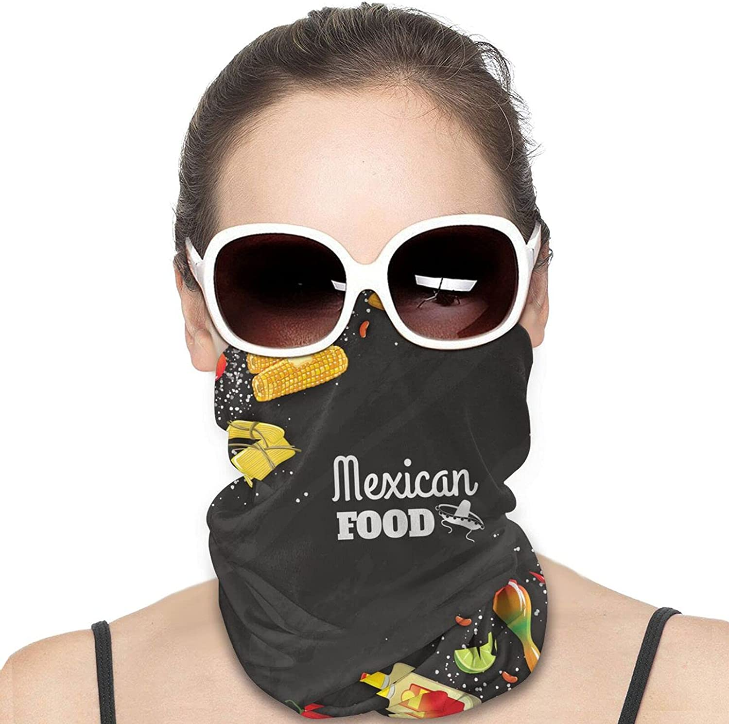 Mexican Food Round Neck Gaiter Bandnas Face Cover Uv Protection Prevent bask in Ice Scarf Headbands Perfect for Motorcycle Cycling Running Festival Raves Outdoors