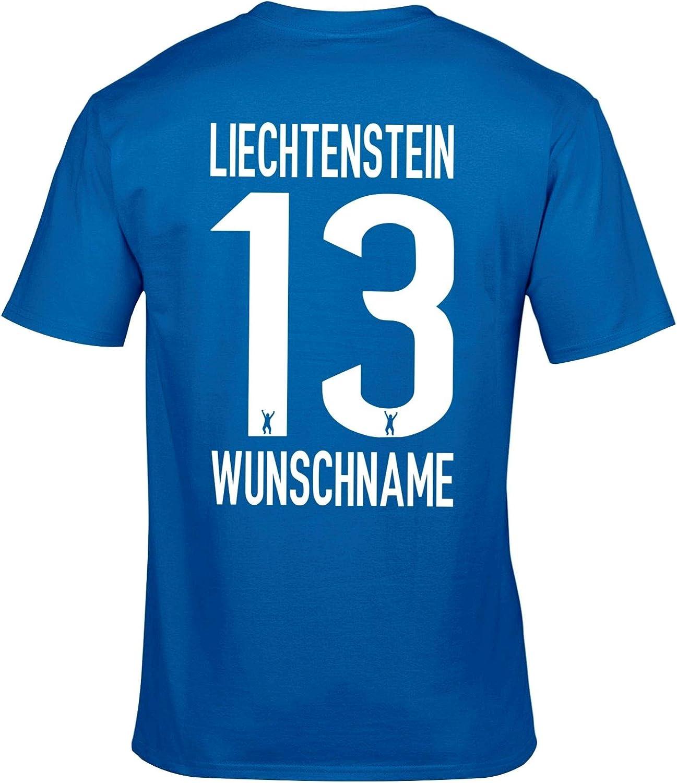 FanShirts4u Herren Fan-Shirt Jersey Trikot Liechtenstein T-Shirt inkl Druck Wunschname /& Nummer WM EM