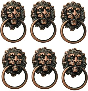 6 Pack Drawer Lion Head Pull Handle Knob 1.57 x 2.64 Inch Ring Knobs Handle for Dresser Cabinet Door(Copper Tone)