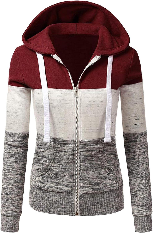 COMVALUE Womens Hoodies,Women's Zip Up Long Sleeve Fall Sweatshirts Casual Drawstring Jacket with Pocket