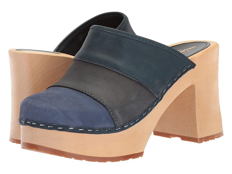 Swedish Hasbeens Color Combo Slip-In (Blue Nubuck) Women