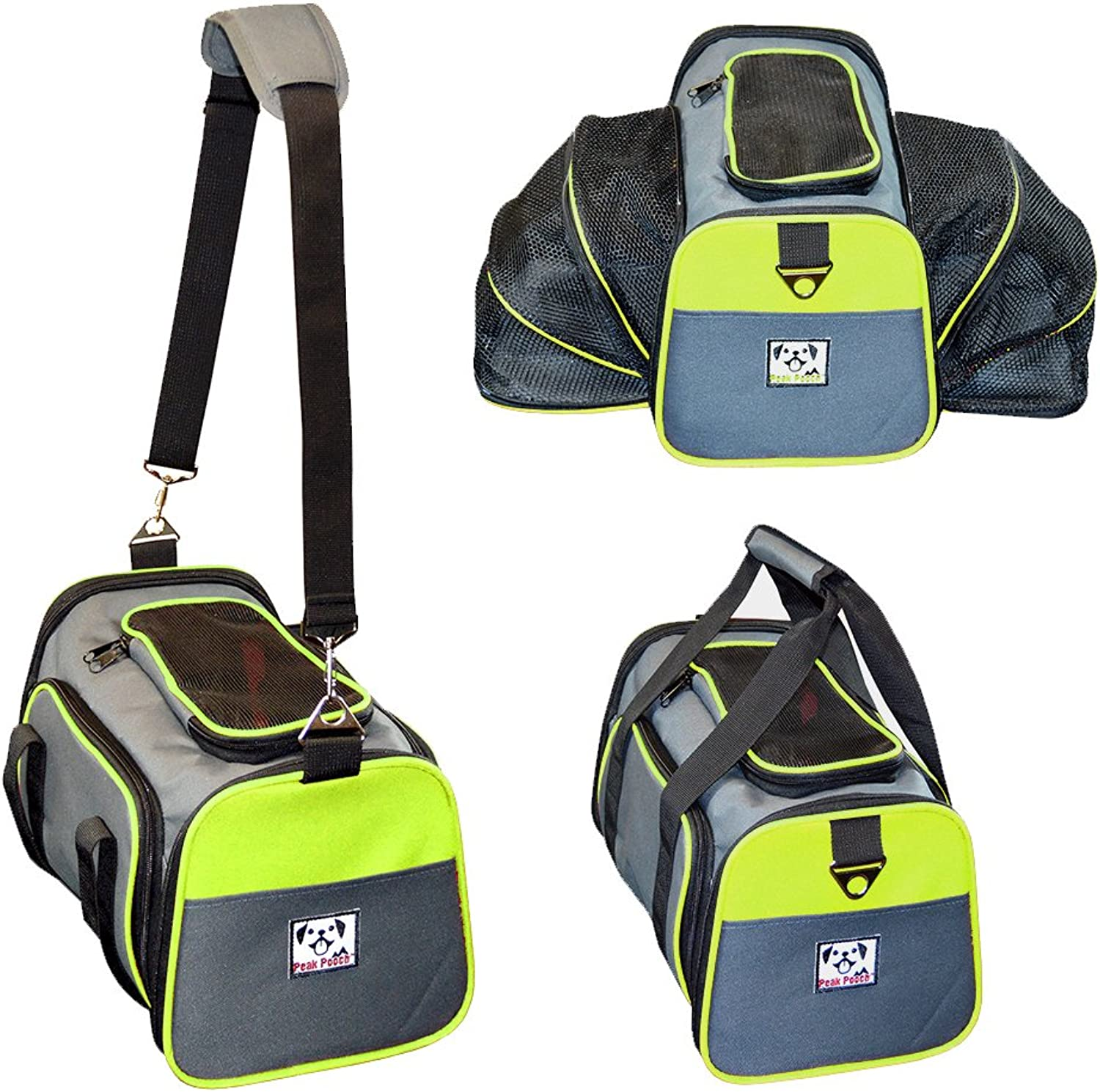 Peak Pooch  Expandable Foldable Airline Approved IATA Carry On Travel Pet Dog Cat SoftSided Carrier w  Fleece Bed  Charcoal (Neon Green Trim, Large)  19x 12x 12 by Peak Pooch
