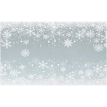 "Lunarable Snowflake Doormat, Falling Snowflakes Winter Snow Frame New Year Christmas Pattern, Decorative Polyester Floor Mat with Non-Skid Backing, 30"" X 18"", Pale Blue Grey and White"