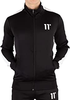 11 Degrees Men's Zip Poly Panel Track Jacket, Black