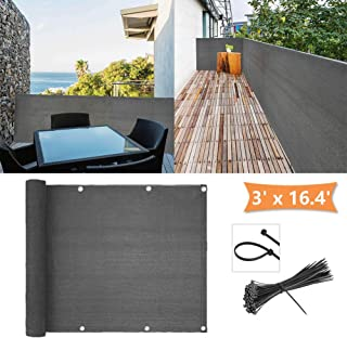 zimo Balcony Privacy Shield UV Protection Opaque Weather-Resistant Balcony Cover 3×16.4' (Grey)