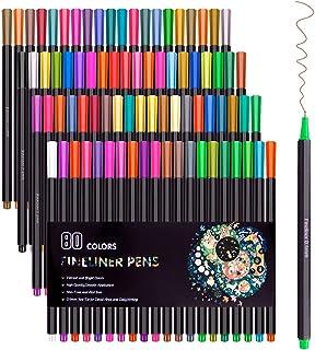 80 Colors Fineliner Color Pen Set 0.4mm Fine Line Sketch Drawing Pens,Fine Point Coloring Markers for Journal Planner Colo...