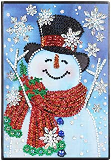 Christmas Diamond Painting Cover Notebook DIY Christmas Snowman Special Shaped Diamond Painting 60 Pages A5 Notebook Mosaic Making Art Craft Gifts