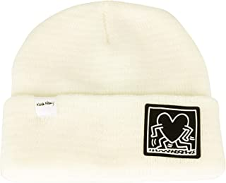 WITHMOONS Knitted Beanie Hat Keith Haring Heart Patch Watch Cap CR51090