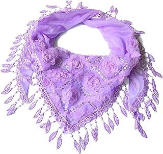 39f079df20040 JAGENIE Nouvelles Femmes Gland Châles Foulards en Soie Fleur Dentelle Triangle  Écharpe De Mode Écharpe 3