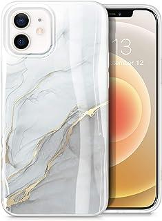 "GVIEWIN Aurora Lite Series Kompatibel mit iPhone 12 Hülle/iPhone 12 Pro Hülle 6,1""2020, Ultra dünn glänzend weich Silikon TPU Marmor Stoßfest Handyhülle Cover Schutzhülle, Blanco/Grau"