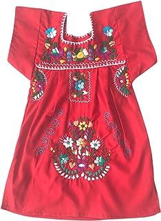 Vestito estivo per ragazza - vestito per bambina 1 anno - vestito di fiori ricamati - vestito messicano - vestito rosso pe...
