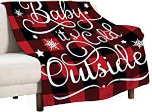yyone Soft Flannel Fleece Throw Blanket Baby It's Cold Outside, Home Decor Blanket Throw 40