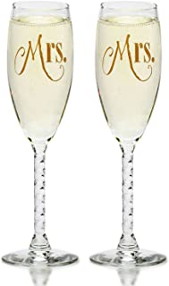 Mrs. & Mrs Champagne Flutes With Gift Box - Gay Couple-Hers and Hers Same Sex - Engagement, Wedding, Anniversary, House Warming (Gold)