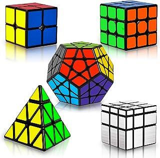 Coolzon Rubix Cube Set, Magic Speed Cube Bundle 2x2 3x3 Pyraminx Pyramid Megaminx Mirror Cube, Easy Turning 3D Puzzle Cube...
