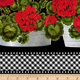 Timeless Treasures Front Porch Geranium Border Stripe Black Fabric by The Yard