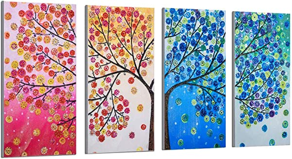 Sietore Splice Special Shaped Diamond Painting By Number Kits DIY 5D Partial Drill Cross Stitc Arts Craft Home Wall Decor Four Season Tree Design Multicolor 102x45cm