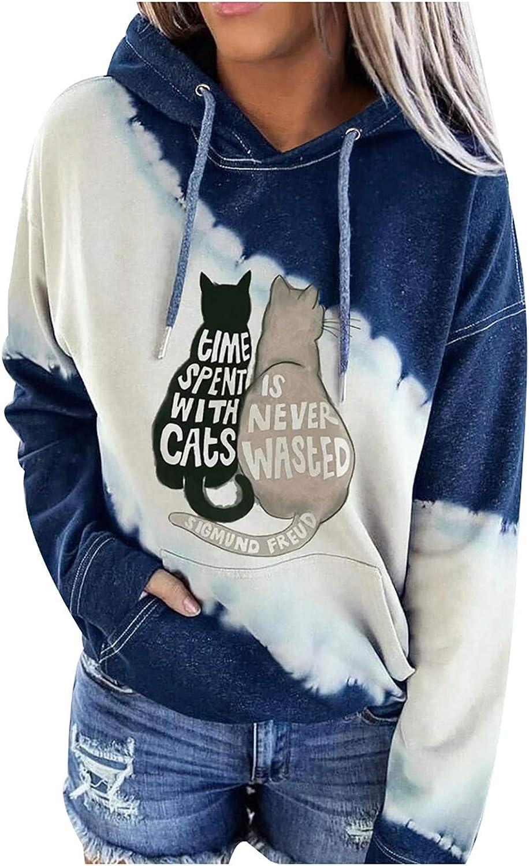 Eduavar Hoodies for Women Teen Girls Cute Letter Printed Long Sleeve Drawstring Pullover Sweatshirt Casual Hoodie Tops