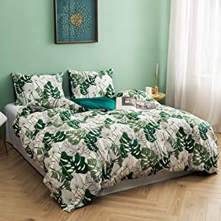 Argstar 3 Pcs Cotton Queen Duvet Covers, Tropical Green Plants Tree Leaves Bed Sets, Botanical Floral Monstera Deliciosa Comforter Cover, 1 Duvet Cover and 2 Pillow Cases, For Men Women Boys and Girls