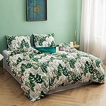 Argstar 3 Pcs Cotton Queen Duvet Covers, Tropical Green Plants Tree Leaves Bed Sets, Botanical Floral Monstera Deliciosa C...