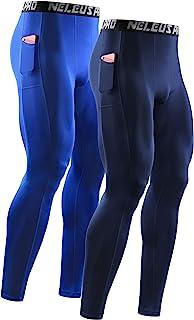 Neleus Men's 2 Pack Compression Tights Sport Running Leggings Pants