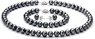 Black 7.5-8.5mm AA Quality Freshwater 925 Sterling Silver Cultured Pearl Set For Women