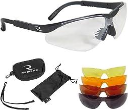 Radians T-85 Glasses with Case/Cloth Bag/Neck Cord, Black Frame, Clear/Copper/Amber/Orange/Green Mirror Lens, T-85, Glasse...