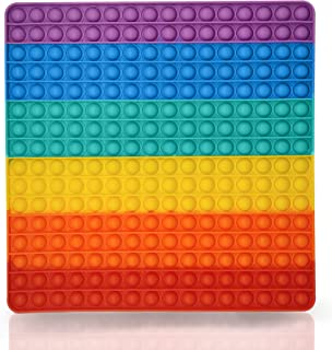 DOBKDTUYS Big Size Push Pop Fidget Toy, Big Rainbow Pop, 256 Bubbles Big Size Square Squeeze Toys for Kids and Adults 12 Inch Big Pop
