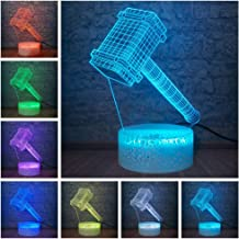 Marvel Legend Avengers Superhero Thor Hammer Figure 3D LED Optical Illusion Smart 7 Colors Night Light Battery Powered USB...