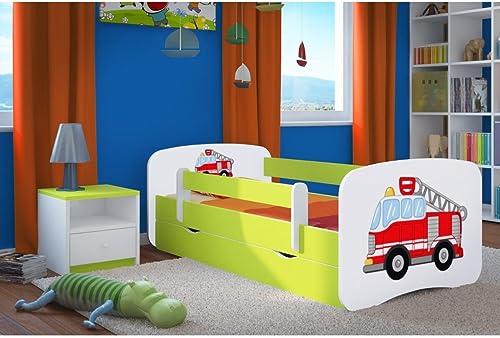 CARELLIA 'Kinderbett Feuerwehrmann 80 180cm   mit Barriere Sicherheitsschuhe + Lattenrost + Schubladen + Matratze Ofürt. LimettenGrün