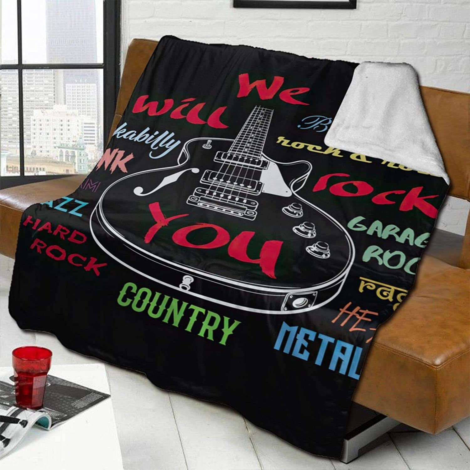 High order Electric Guitar Lamb Wool Los Angeles Mall Throw Blanket Soft Double-Sided Super