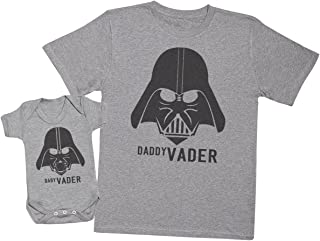 Zarlivia Clothing Baby Vader & Daddy Vader - Matching Father Baby Gift Set - Mens T Shirt & Baby Bodysuit