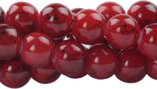 RUBYCA 4mm 2 Strands Czech Glass Round Beads Red Painted Colored String for Jewelry Making
