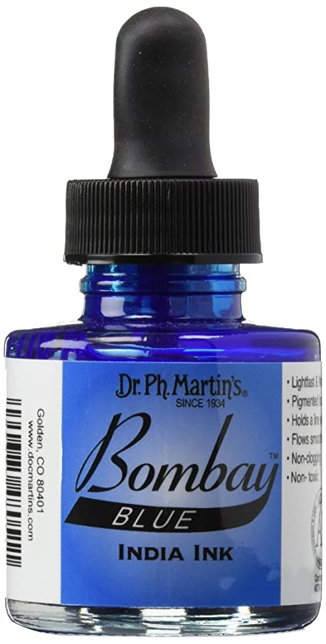 Dr. Ph. Martin's Bombay India Ink (5BY) Ink Bottle, 1.0 oz, Blue, 1 Bottle